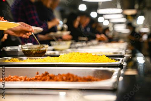 Fototapeta close up International line buffet in Tourist restaurant. obraz