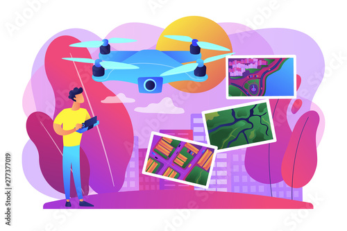 Deurstickers Graffiti collage Drone, quadcopter operator, pilot making photos. UAV with camera. Aerial photography, air survey services, drone photo of your event concept. Bright vibrant violet vector isolated illustration