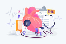 Circulatory System Complications. Cardiologists Studying Human Organ. Heart Disease, Ischemic Heart Disease, Coronary Artery Disease Concept. Vector Isolated Concept Creative Illustration