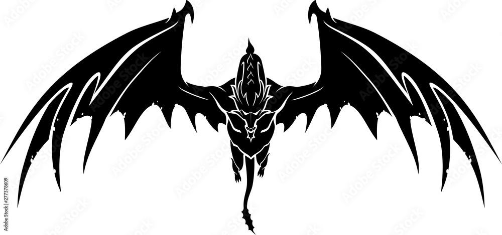Fototapeta Black Dragon Front View