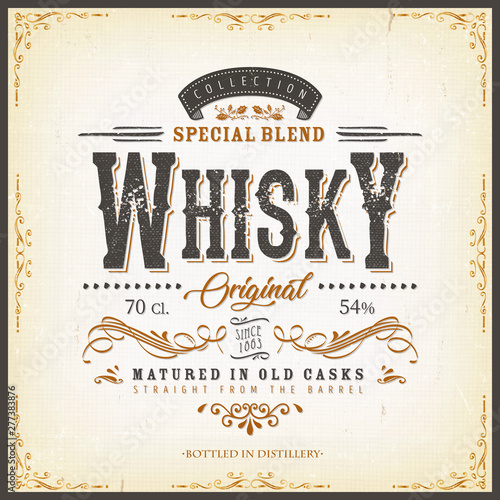 Vintage Whisky Label For Bottle/ Illustration of a vintage design elegant whisky label, with crafted letterring, specific product mentions, textures and celtic patterns, on blue and gold background Fototapete