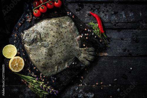 Fotografie, Obraz Sea delicacies. Fresh seafood. Turbot fish