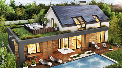 Photo  Beautiful house with roof terrace and solar panels