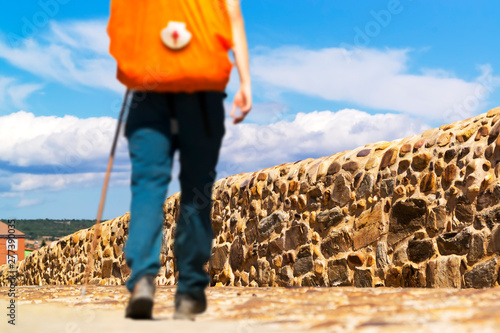 way of st james to  Compostela , pilgrim with backpack and scallop shell , Spain Wallpaper Mural