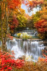 FototapetaHuai Mae Khamin Waterfall tier 4, Khuean Srinagarindra National Park, Kanchanaburi, Thailand
