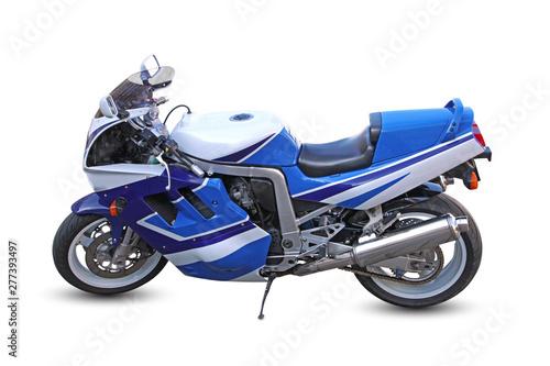 moto de course bleue Tablou Canvas