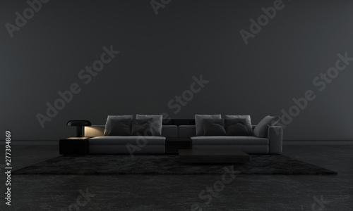 Leinwanddruck Bild - teeraphan : Modern black lounge and living room interior design and black pattern wall background