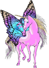 Magic Unicorn. Vector illustration. Suitable for fabric, wrapping paper and the like
