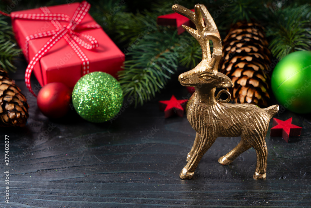 Fototapety, obrazy: Christmas flat lay scene with golden decorations