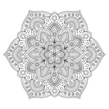 Zentangle Mandala For Antistress Coloring Book Page