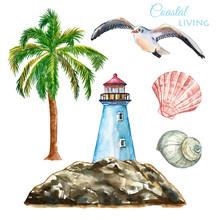Watercolor Nautical Beach Set ...