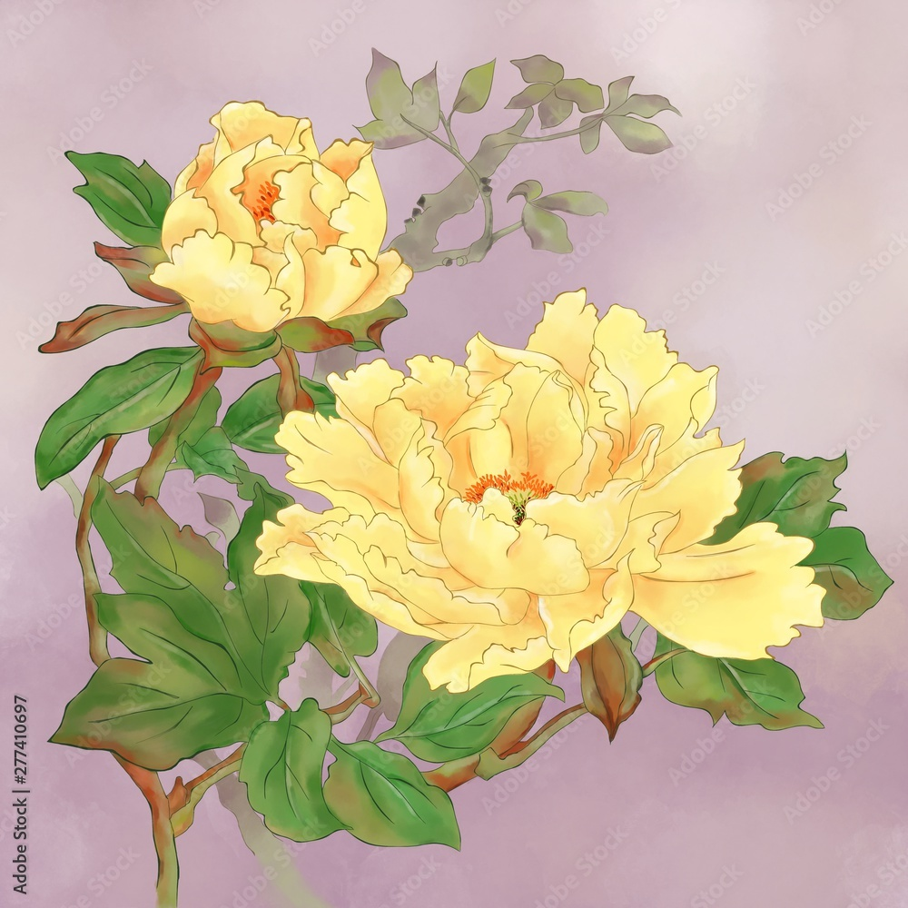 Digitally watercolor painting bushes of sweet yellow Peony flower and green leave with soft purple background. Asian style art.