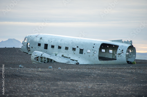 The abandoned DC-3 Airplane on Solheimasandur beach Wallpaper Mural