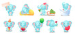Set of cute and funny kid blue elephant character
