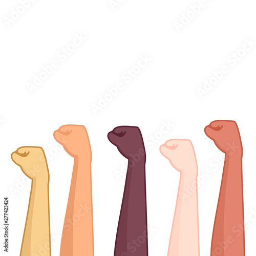 Raised Hand Fists Of Different Color As Symbol Of Protest And Unity Against Social Inequality Racism Diverse Nationalities United Human Rights Concept Cartoon Vector Illustration Buy This Stock Vector And Explore