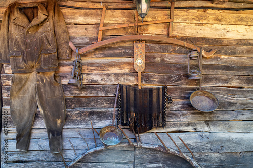 Photo  Old traditional grist mill exterior background