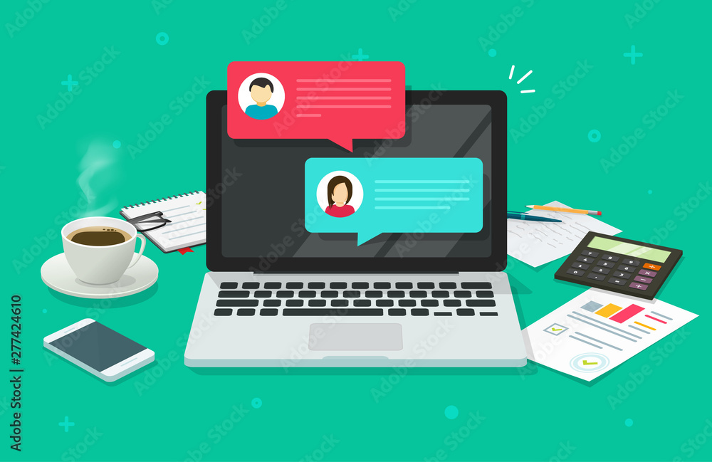 Fototapeta Chat messages on computer online vector illustration, flat cartoon workspace or working desk laptop pc with chatting bubble notifications, concept of people messaging on internet image