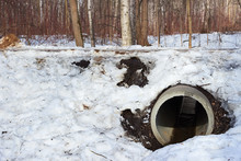Pipe Culvert In The Snow Winter
