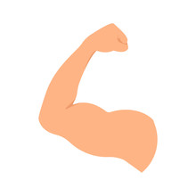 Strong Hand With Biceps Muscle Symbol. Bodybuilder And Weightlifter Arm Sign. Human Body Anatomy Icon.Sport And Fitness Concept.Perfect For Bodybuilding And Fitness Clubs. Isolated Vector Illustration