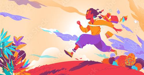 Slika na platnu After school, a boy runs toward his future
