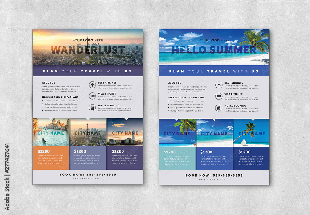 Fototapety, obrazy: Flyer Layout with Colorful Elements