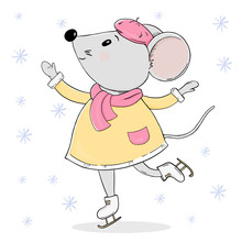 Cute Mouse In Warm Clothes On Skates. Greeting Card For New Year And Christmas.