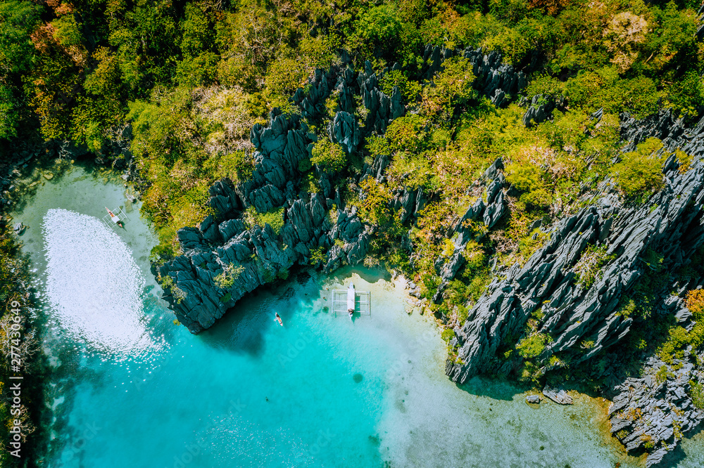 Fototapety, obrazy: Marine Reserve El Nido Palawan Philippines, aerial view of tropical paradise turquoise lagoon and sharp limestone cliffs