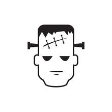 Frankenstein Head Icon In Black And White. Vector Illustration.