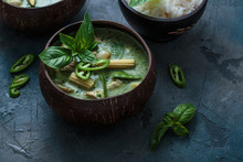 Spicy Green Curry With Copy Space, Thai Food