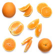 Set of fresh whole and cut orangeand slices isolated on white background. From top view