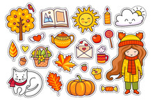 Set Of Cute Hand Drawn Autumn Elements. Fall Season Decoration. Little Girl, Pumpkin, Open Book, Cloud, Coffee, Candle, Kettle And Love Letter. Vector Illustration.