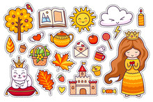 Set Of Cute Autumn Stickers. Kawaii Little Princess With Crown And Coffee, Leaves, Cat, Sun, Castle. Fall. Vector Illustration.