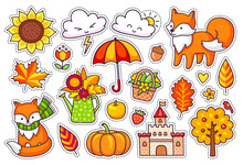 Big Set Of Cute Autumn Plants, Foxes, Clouds And Trees, Castle, Umbrella And Pumpkin. Fall Season Stickers, Pins, Badges And Patches.