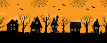 Halloween Houses. Spooky Village. Seamless Border. Black Silhouettes Of Houses And Trees On An Orange Background. There Are Also Bats, Ghosts, Pumpkins And A Cat In The Picture. Vector Illustration