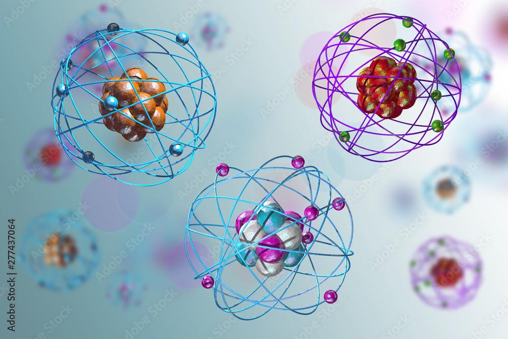 Fototapeta Atomic Particle 3D Illustration