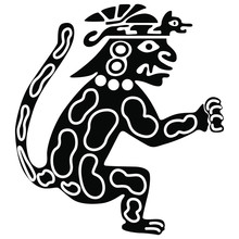 Silhouette Of Fantastic Jaguar Warrior. Ancient Peruvian Ethnic Motif. Black And White Silhouette.
