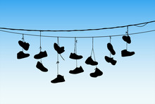 Shoes On Wires. Vector Illustr...