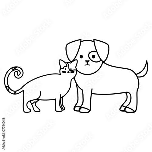 Photo sur Toile Le vous même cute cat and dog mascots adorables characters