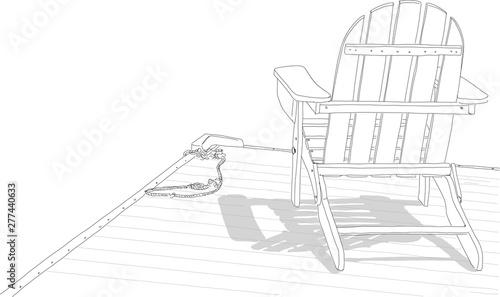 Hand drawn illustration. An Adirondack chair sitting on a ...