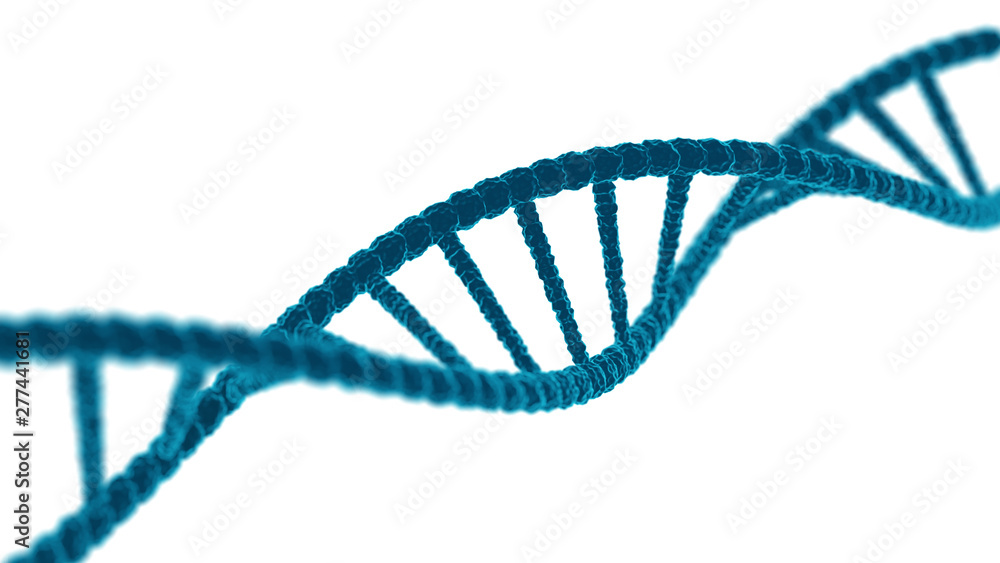 Fototapeta DNA sequence. Molecules structure dna code. Science and Technology concept. 3d stock illustration. Template isolated on white background.