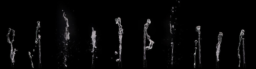 Splashing water on a black background