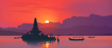 Red Sunset With Silhouette Of Famous Balinese Ulun Danu Water Temple And Fisherman Boats On Lake Bratan, Bali, Indonesia. Realistic Vector Illustration Background