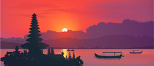 Famous Balinese Water Temple Ulun Danu And Fisherman Boats Silhouettes On Red Sunset Background With Clouds And Reflection. Vector Horizontal Banner Background