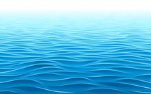 Blue Water Waves Perspective Landscape. Vector Wave Pattern