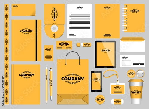 Foto auf AluDibond Ziehen Stationery Mockups Customizable Vector Graphics for Office Professional Branding