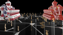 USA Vs China Trade War Economic Conflict Of Tariffs Or Trade Barriers - 3D Illustration Rendering