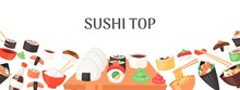 Sushi Top Banner, Poster Vector Illustration. Japanese Cuisine In Cartoon Style. Asian Food Wirh Rice. Salmon And Flying Fish. Traditional National Dishes For Menu, Advertisement.