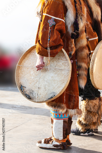 The folk ensemble performance in dress of indigenous people and tambourine of Kamchatka Wallpaper Mural