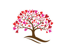 Love Tree With Heart Leaves Ve...