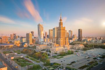 Zdjęcie lotnicze z panoramę Warszawy